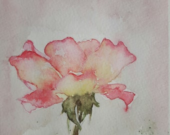 Original watercolor card greeting card painting rose flower floral illustration Note card Art personalized birthday handmade hand painted