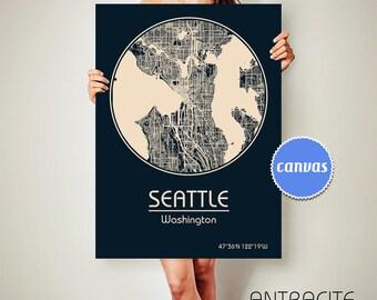 SEATTLE Washington CANVAS Map Seattle Washington Poster City Map Seattle Washington Art Print Seattle Washington
