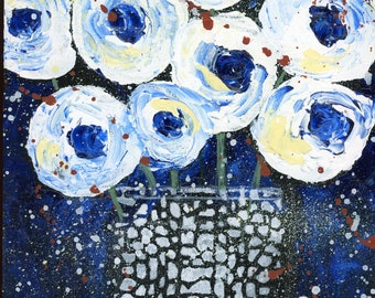 oil painting, floral bouquet, white and blue flowers