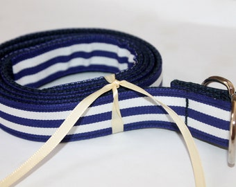 Kids Navy and White Belt Navy and White Striped Ribbon Preppy Boys Girls Toddler Navy Stripe Kids BElt Navy and White belt