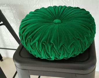 LARGE Emerald Green Vintage Style Velvet Cushion
