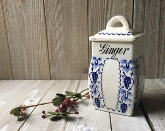 Vintage German Porcelain Ginger Canister