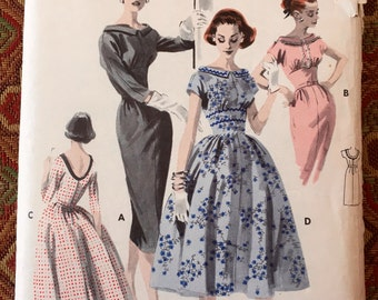 Butterick 8083 - 1950's Misses' and Junior Misses' Dress, Size 13/Bust 33, factory-folded sewing pattern
