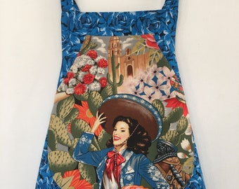 Child Apron-Girl-Kid-Las Señoritas-Vintage Mexican-Movie Stars-Cowgirl-Folklorico-Southwest-Pin Ups-Blue-Roses-Flowers-Alexander Henry