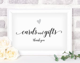 Printable Cards and Gifts Sign. Bridal Shower Sign. Wedding Sign. Cards and Gifts #1