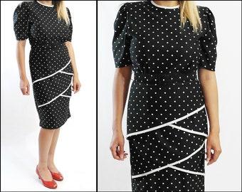 1980s Vintage Black & White Polka Dot dress,Retro,Prom,Office,Secretary,Night Out,Party