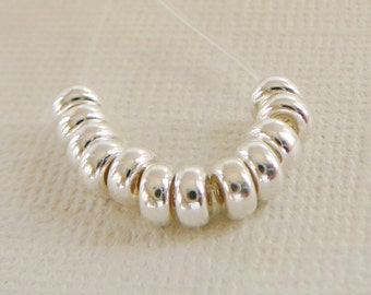 10 Sterling Silver Bead,  4mm Rondel Spacer