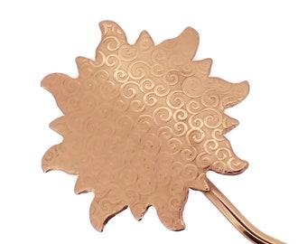 "Hair Pin, Scalloped Edge Copper Design, Embossed Sun Motif, Bun Holder, Hair Pick, Hair Stick, Long Hair Accessory, Shawl Pin 1.75"" OD"