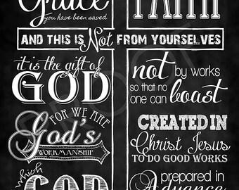 Scripture Art - Ephesians 2:8-10 Chalkboard Style