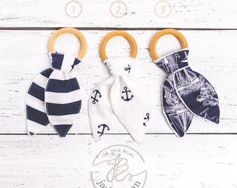 Sailor Natural Maple Wood Teething Rings,Boy's Wood Teething Toy, Bunny Ears Teether, Bunny Ear Teething Ring, Teething Toy, Made in USA