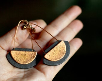 Long earrings Statement jewelry Black and copper jewelry Long dangle earring Fashion earrings for women Black earrings Gift for her Birthday