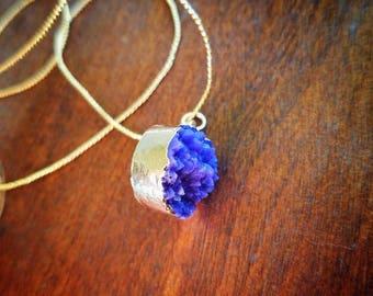 Petite Purple Druzy Necklace - TheHiddenBin