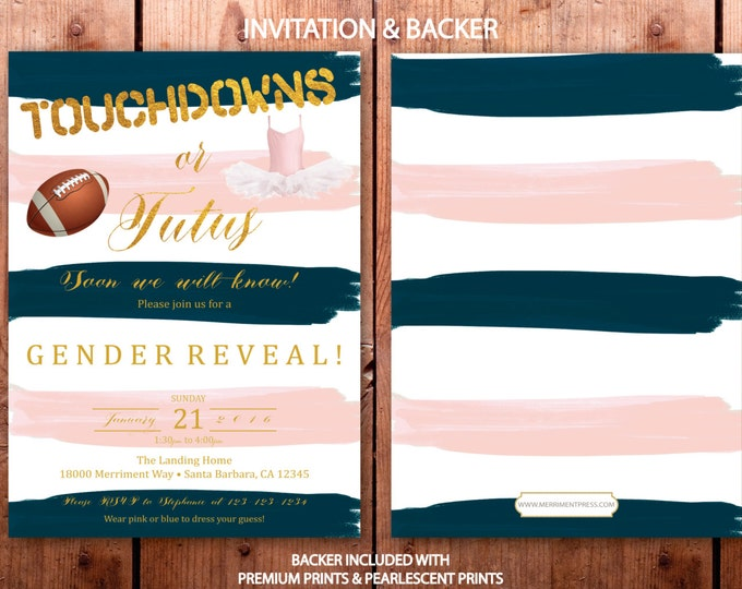 Touchdowns or Tutus Blush Pink Blue Gold Gender Reveal Invitation // Footballs or tutus // He or She /Boy or Girl / SANTA BARBARA COLLECTION