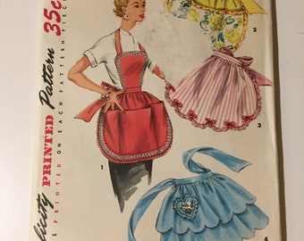 OOP HTF  Vintage Sewing Paper Pattern Apron NEW uncut factory folded one size simplicity 4938