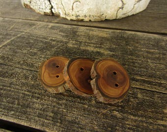 3 dark wood buttons- Juniper, handmade buttons (5012)
