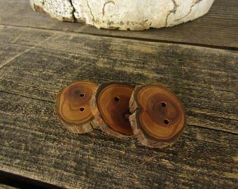 3 boutons bois foncé - Juniper, boutons à la main (5012)