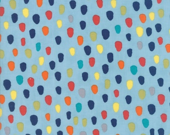 Hello World Specks fabric in Blue by Abi Hall for Moda Fabric #35303-17