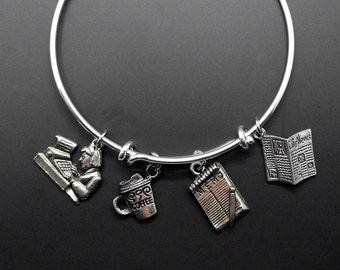 Reporter Bracelet Newspaper Journalist Writer Jewelry