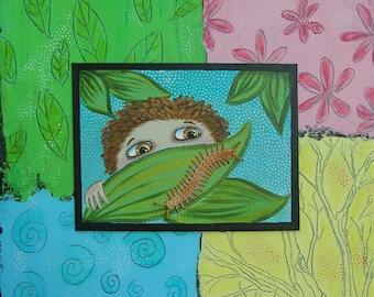 Original Painting Watching Bugs 18 x 24 oddimagination