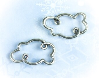 25%OFF Silver Cloud Charm large open Cloud Pendant Silver Plated bracelet connector Metal Casting European quality jewelry link TH167 (1 pc)