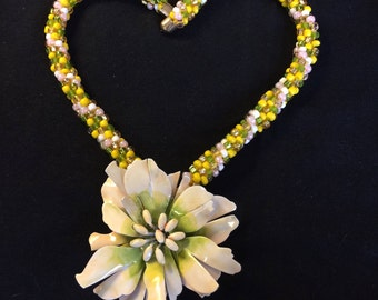 Vintage Flower Kumihimo Beaded Necklace