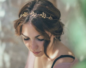 Bridal headband. Gold Leaf Bridal Headband. Wedding Headpiece. Olive Bridal headband. Women boho elastic Headband. Boho wedding