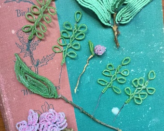 Vintage Handmade glass beaded flowers and leaves