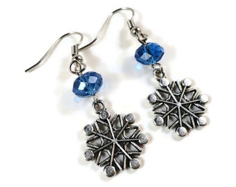 Silver Snowflake Earrings, Snowflake Charm Earrings, Cobalt Blue Crystal Bead Earrings, Winter Christmas Jewelry, Holiday Jewelry, Gift Idea