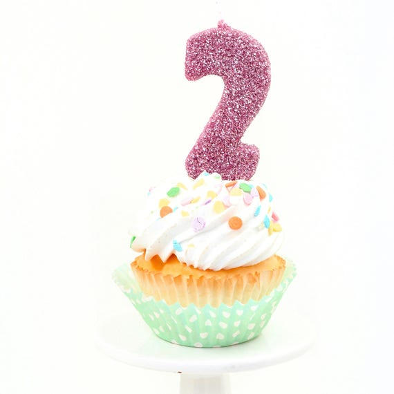 """3"""" Number 2 Candle, Giant 2 Candle, Blush Pink Candle, Blush Pink Party, Glitter Birthday, 2nd Birthday Candle, Gold Birthday Candle, Pink"""