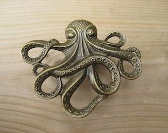 Octopus Drawer knobs - Cabinet Knobs - Furniture Knobs in Brass Metal (MK103)