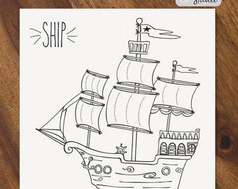 Hand Drawn Ship SVG - Sail Boat Vector - Old Ship Clip Art - Pirate Ship Digital Art - Sea Nautical svg - Formats: Png, Svg, Eps, Pdf Files
