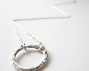 Necklace - Silver Karma Necklace - Sterling Silver Circle Necklace - Endless Circle - Infinity Cirlce Necklace - Mother - 925