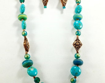 Jerusalem Turquoise Beaded Necklace Set, Handmade, Women's Accessories, Fashion Jewelry, Chunky Necklace, Chic Necklace, OOAK, Gifts for Her