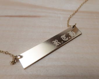 Nameplate Necklace Initial bar necklace Name Bar Necklace bar necklace, medieval handwriting necklace, Roman numerals necklace L12H5