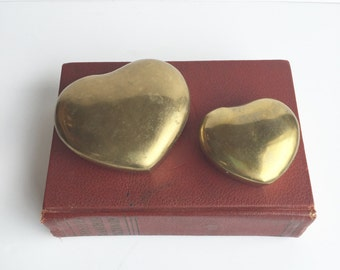 Set of Vintage Brass Heart Boxes