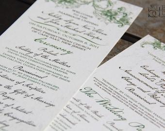 Gothic Elegance Wedding Program. Victorian Program. Antique program