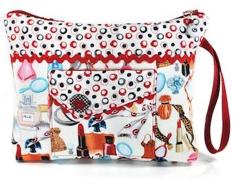 Cosmetic Bag Vintage Red Retro Makeup Zipper Wristlet Pouch