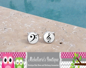Bass Clef and Treble Cufflinks,  Music Note Cufflink, Music Cufflinks, Cuff Links, Gifts for Him, Gifts for Musicians, Glass Cufflinks
