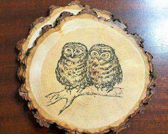 Owl Couple Natural Wood Slice Coaster Set of 2