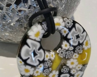 Yellow black and white millefiore bead glass necklace