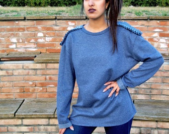 Sweatshirt with dropped sleeve and Frappa