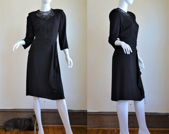 1940s Black Moss Crepe Dress with Sequin & Beaded Embroidery Bust 38""