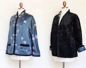 vintage 1960s Chinese silk brocade reversible faux Persian lamb jacket | 60s brocade and fur Asian jacket | S