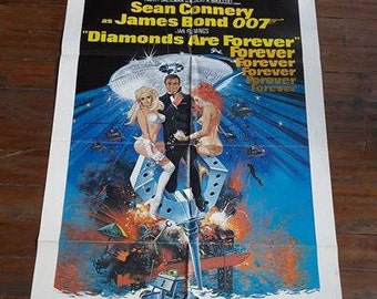 "Authentic James Bond ""Diamonds Are Forever"" ,Movie Poster"
