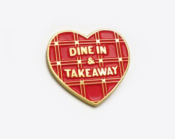 Dine in & takeaway pin / red