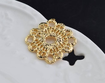 3 of 14k gf filigree lace flower charm pendant 19*24mm XD4