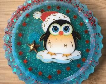 Weihnachtsmagnet, Pinguin, Harz Magnet