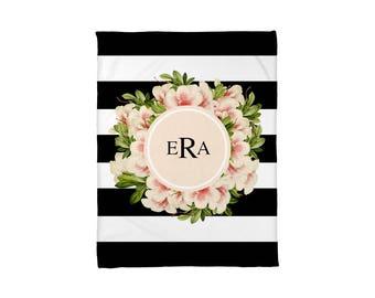Fleece Blanket, Baby Blanket, Kids Blanket, Dorm Blanket, Personalized, Monogrammed, Vintage Flowers, Stripes, Floral