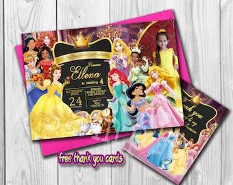 Disney Princess Invitation, Disney Princess Birthday Invite, personalized Princess Invitation, Free thank you Cards, Digital File
