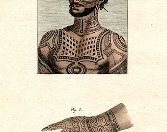 TATTOO, c.1790, Original Hand Colored, Very Detailed, ENGRAVING, in French and German, Superb Condition